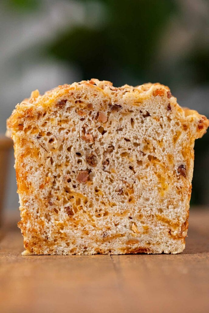 Bacon Cheddar Beer Bread loaf cross-section