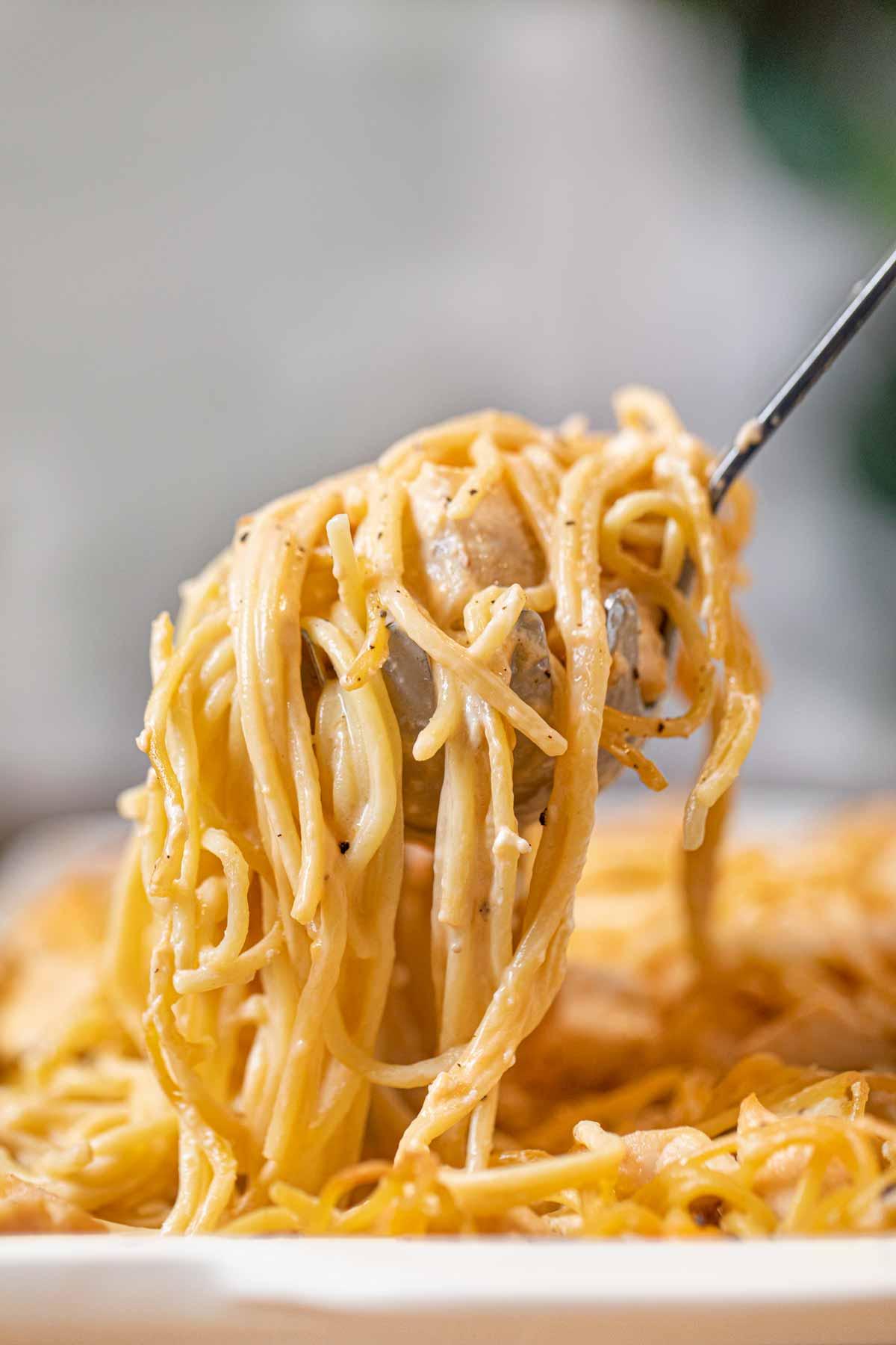 Baked Chicken Spaghetti in scoop