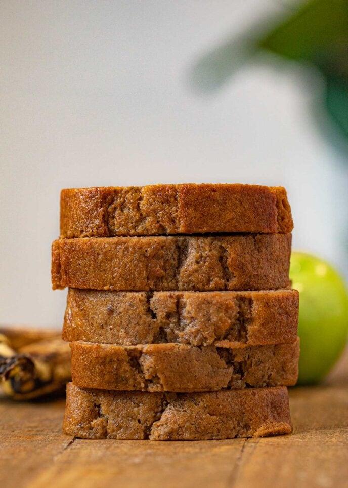 stack of Banana Applesauce Bread