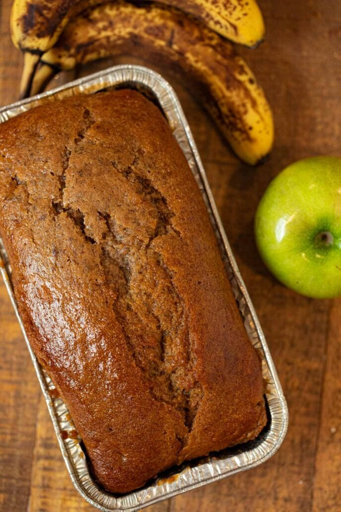Banana Applesauce Bread in loaf pan
