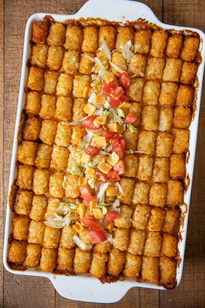 Baking pan of Big Mac Tater Tot Casserole