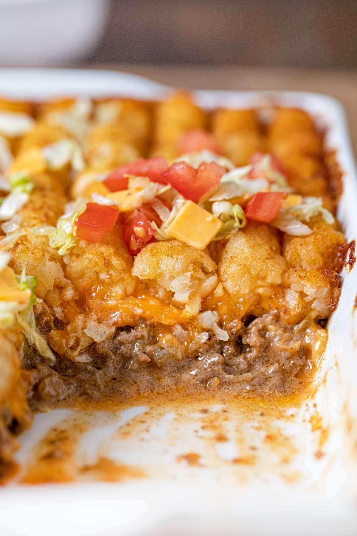 Big Mac Tater Tot Casserole in baking dish