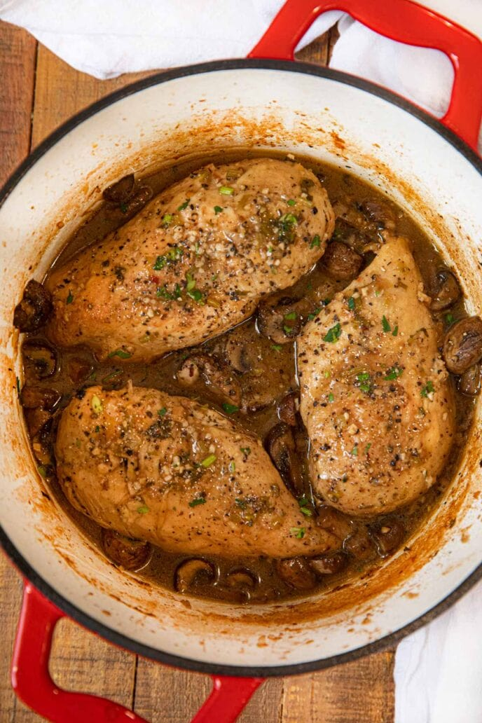 Braised Chicken Breast and Mushrooms in pot