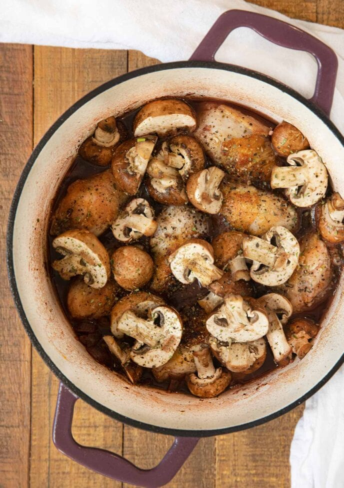 Red Wine Braised Legs with Mushrooms in pot before cooking