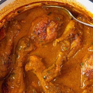 Braised Curry Chicken Legs in pot