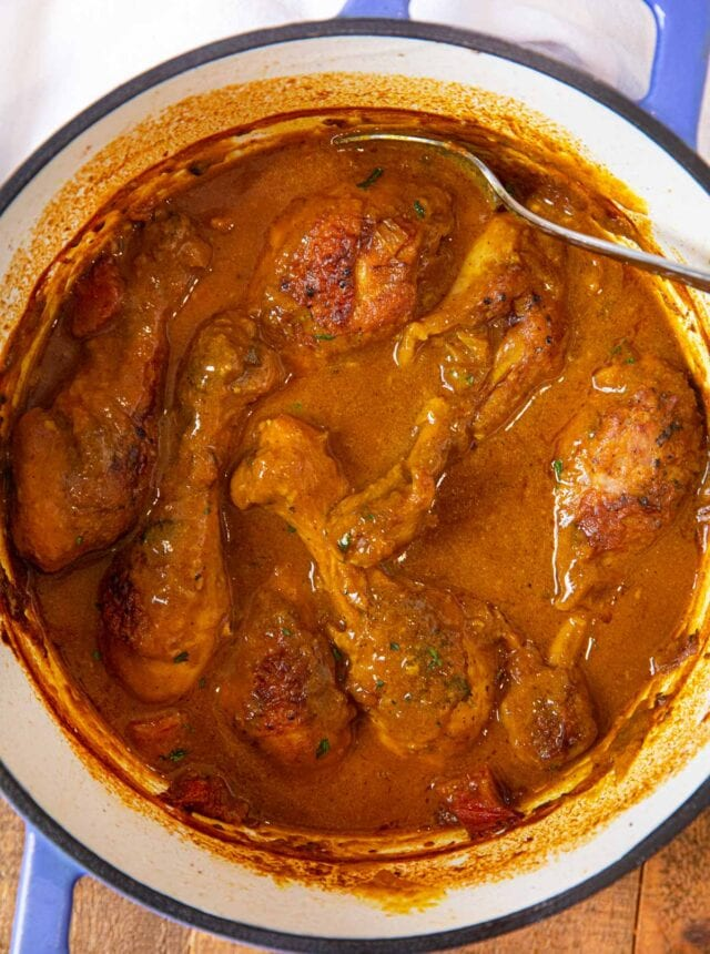 Braised Curry Chicken Legs in pot