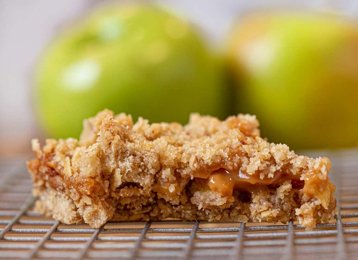 Bite taken out of Caramel Apple Bar