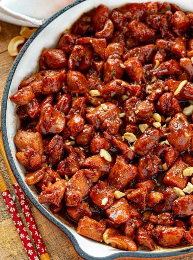 Cashew Chicken in skillet