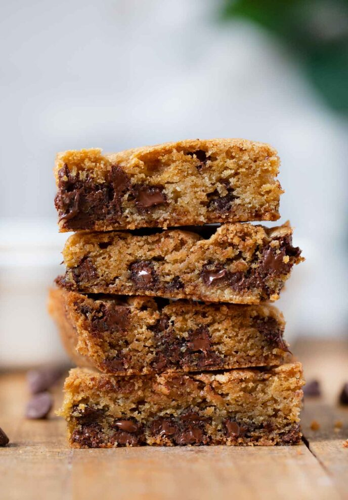 Chocolate Chip Cookie Bars in stack