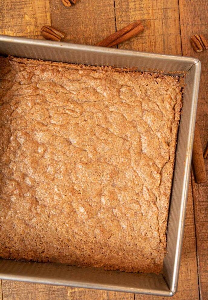 Cinnamon Pecan Bark in baking pan