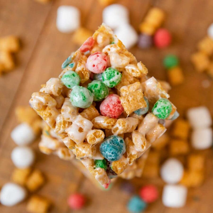 top down slice of Crunchberry Cereal Marshmallow Bars Crunchberry Cereal Marshmallow Bar