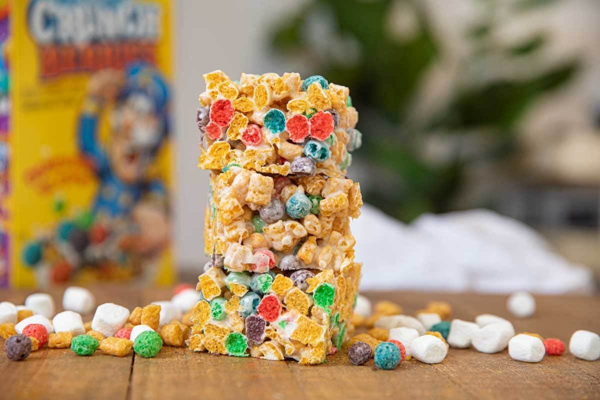 Crunchberry Cereal Marshmallow Bars with cereal around it