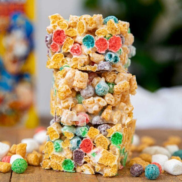 Crunchberry Cereal Marshmallow Bars on wooden board