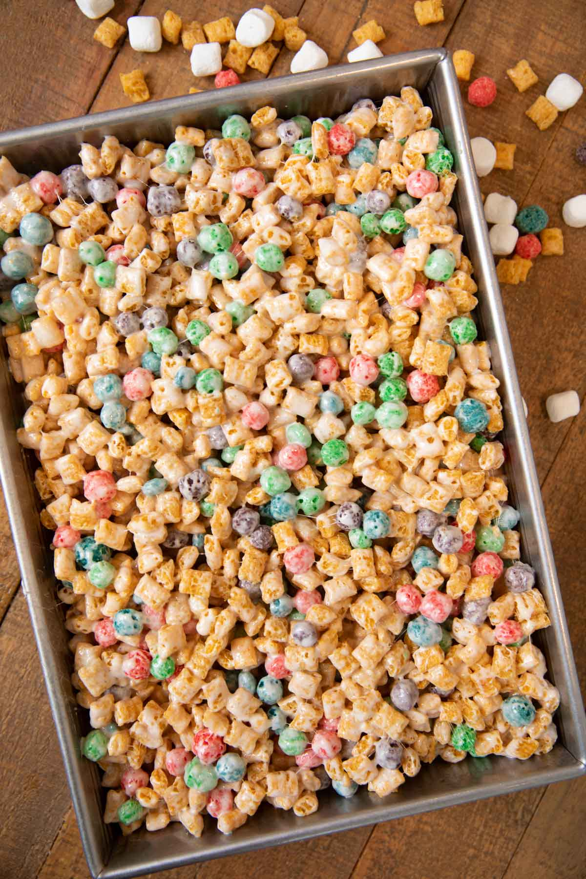Crunchberry Cereal Marshmallow Bars in baking pan