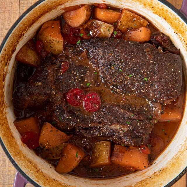 Dr. Pepper Pot Roast in pot