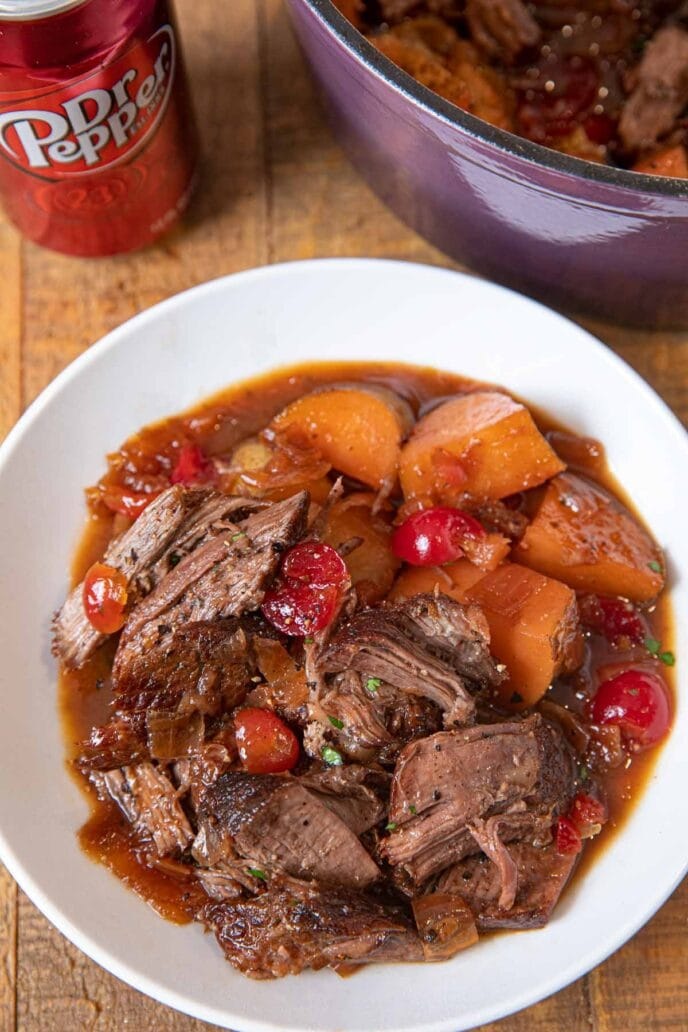 Dr. Pepper Pot Roast serving in bowl