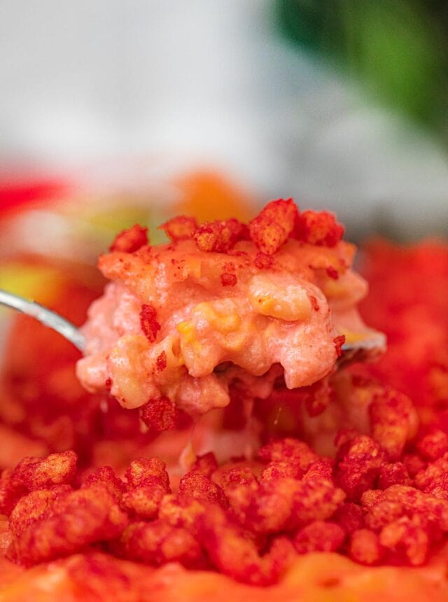 Flamin' Hot Cheetos Mac and Cheese scoop in spoon