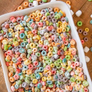 Fruit Loop Cereal Bars in white dish