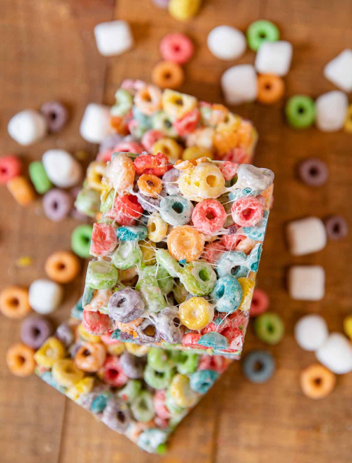 Top down of slice of Fruit Loop Cereal Bar