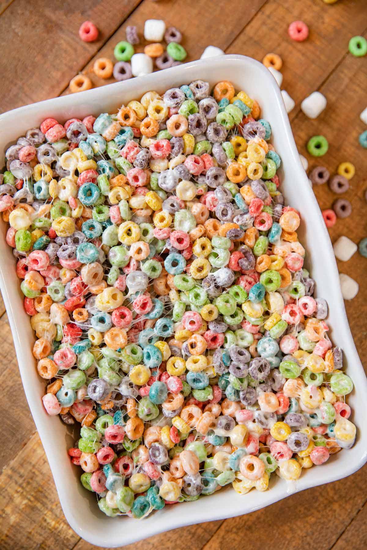 Fruit Loop Cereal Bars in baking dish