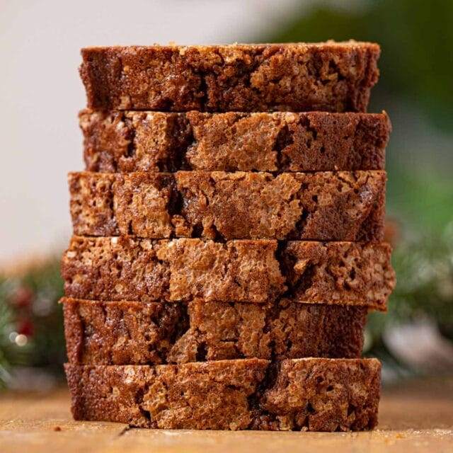 Gingerbread Loaf Cake slices in stack