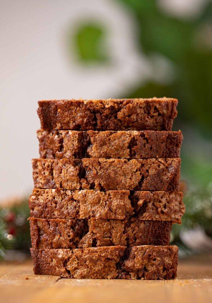 Gingerbread Loaf Cake slices in stack