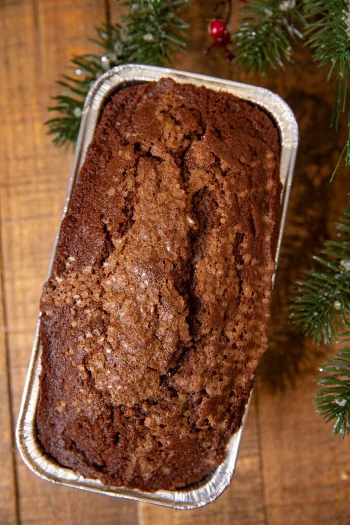 Gingerbread Loaf Cake in loaf pan