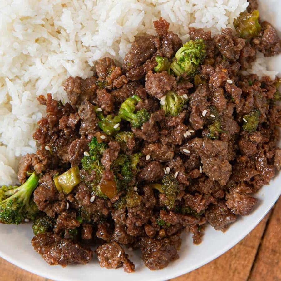 Ground Beef and Broccoli serving on plate with steamed rice