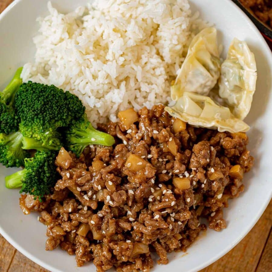 Ground Sesame Chicken, Rice and Broccoli in bowl