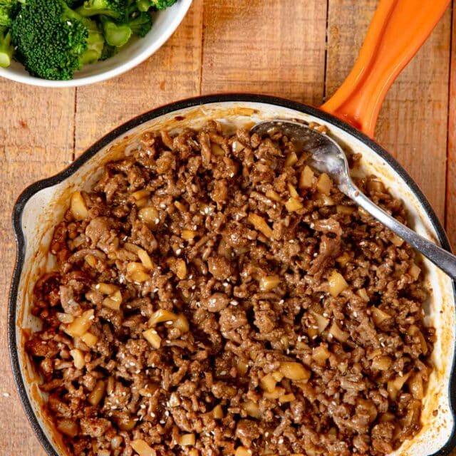 Ground Sesame Chicken in pan