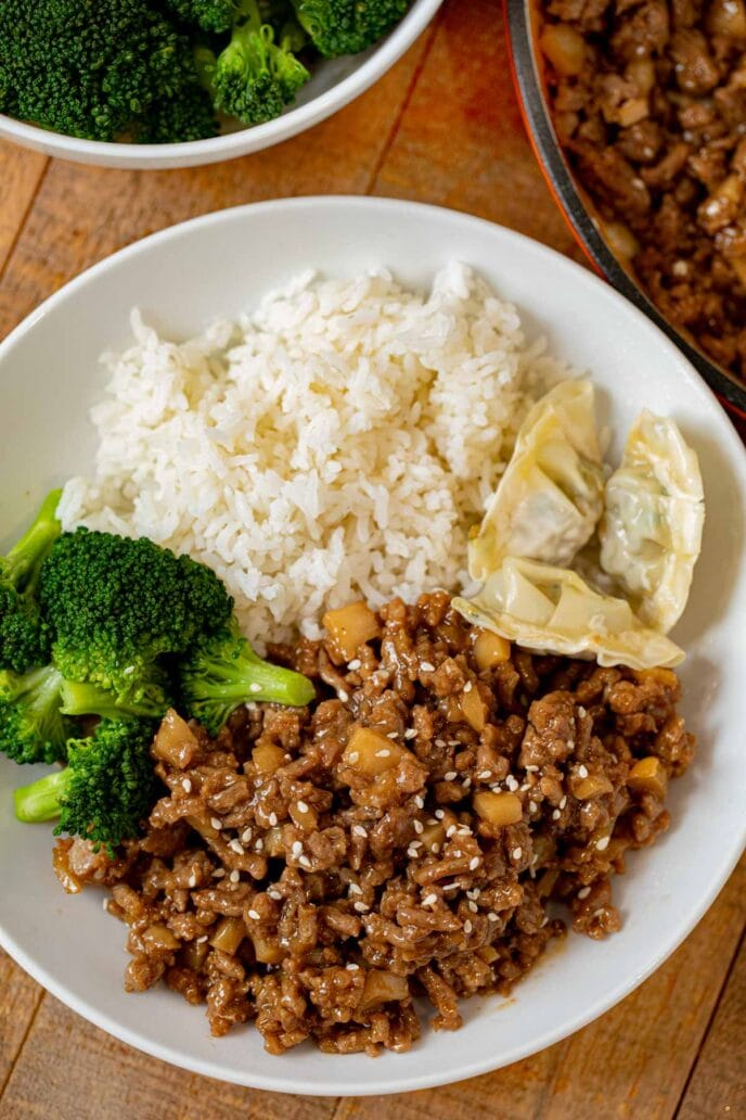 Ground Sesame Chicken in bowl