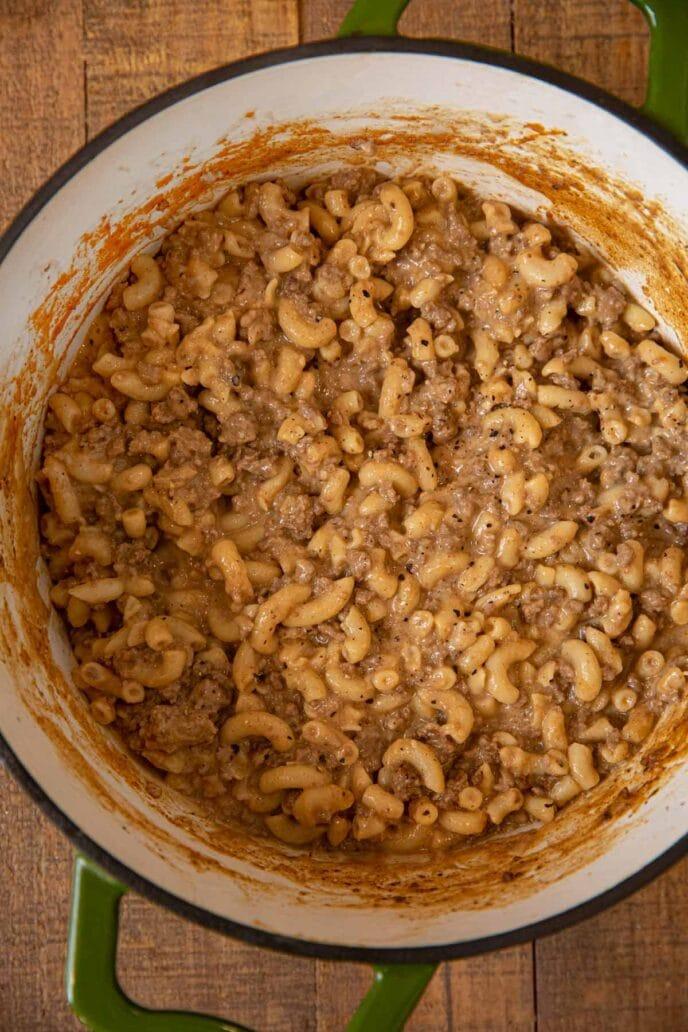 Hamburger Helper in pot with macaroni