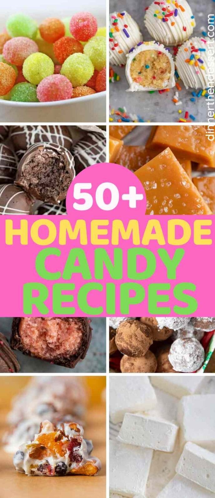 Collage of Candy Recipe Photos including truffles, marshmallow and candy