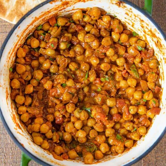 Chana Masala in green pot