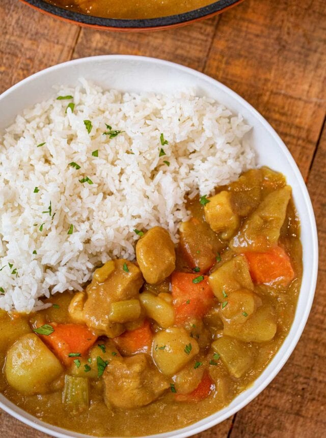 Japanese Curry in bowl with white rice