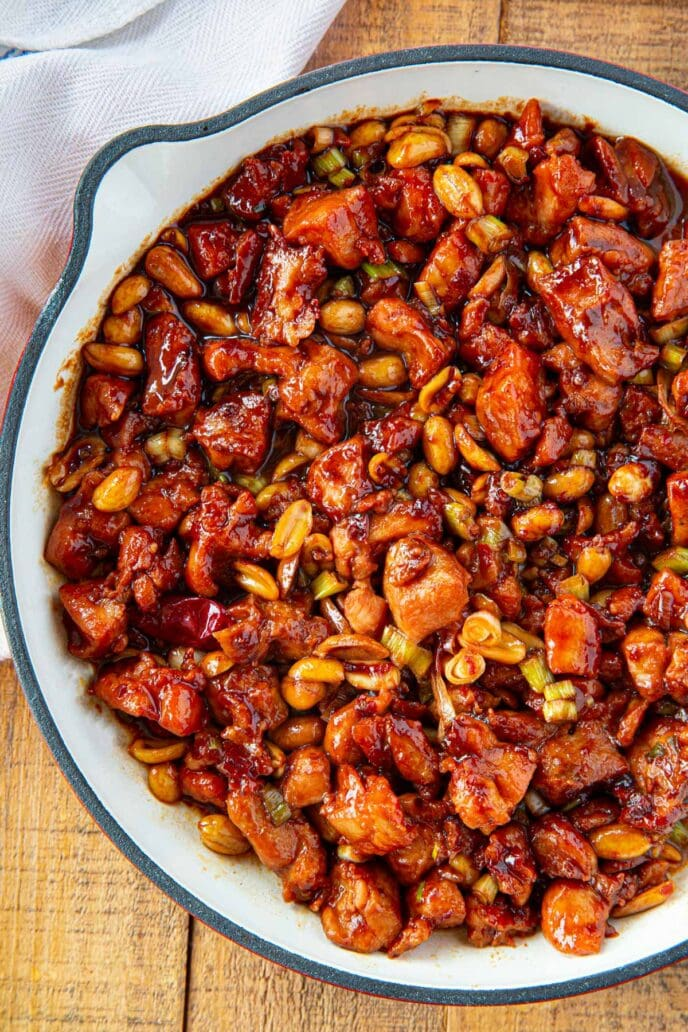 White Pan with Kung Pao Chicken with Peanuts and Chilies