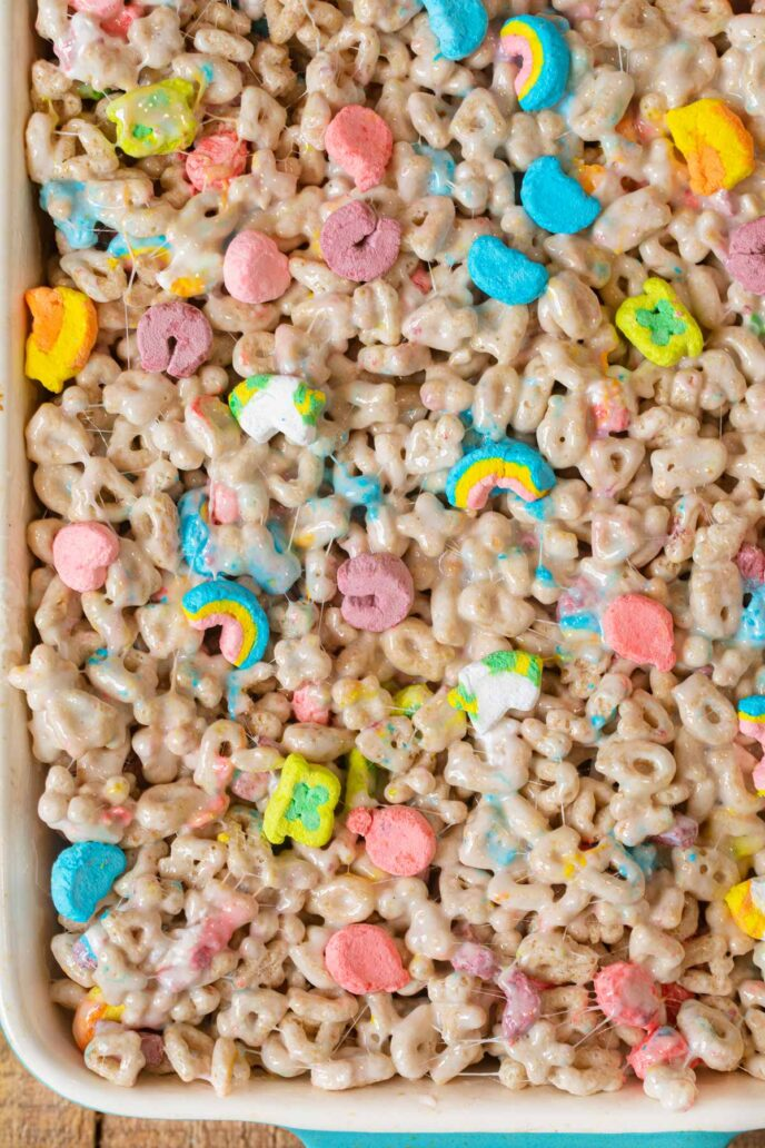 Lucky Charms Cereal Bars in baking dish
