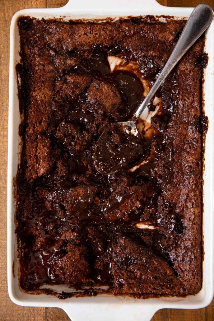 Nutella Cobbler in baking dish with scoop removed