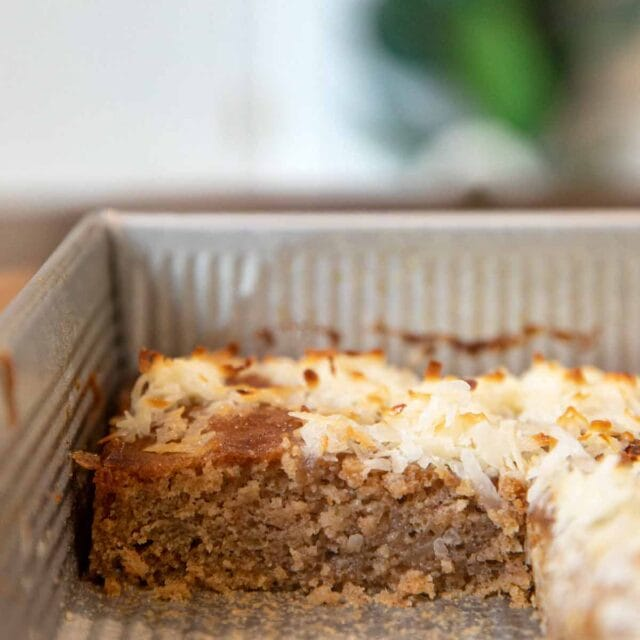 Oatmeal Sheet Cake with toasted coconut in baking pan