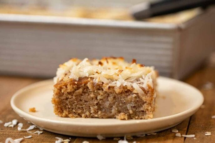 Oatmeal Cake slice on plate