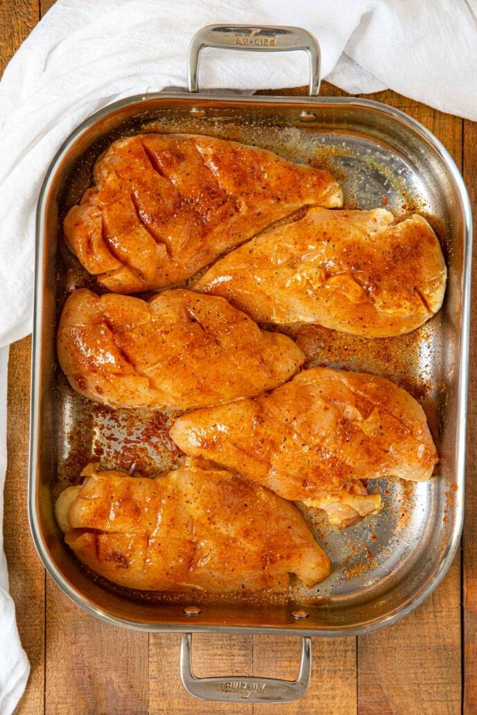 Oven Baked Rotisserie Chicken Breasts in roasting pan