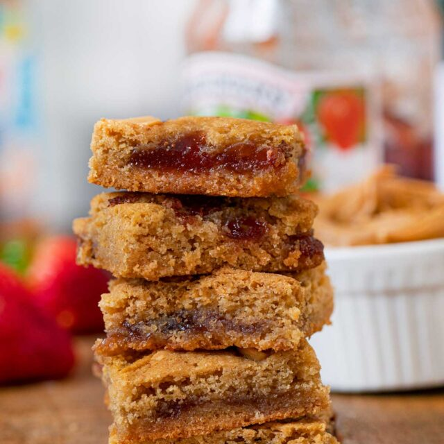 Peanut Butter and Jelly Blondies in stack