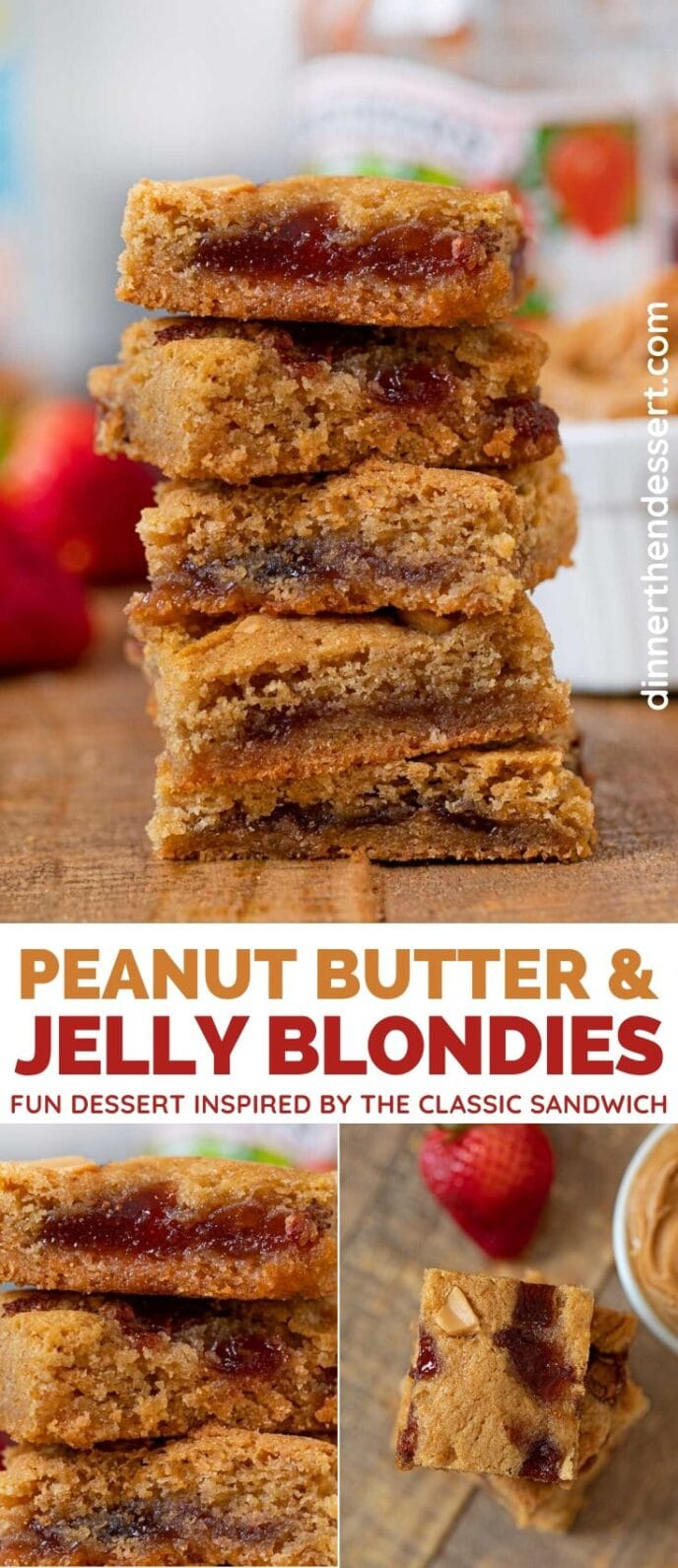Peanut Butter and Jelly Blondies collage