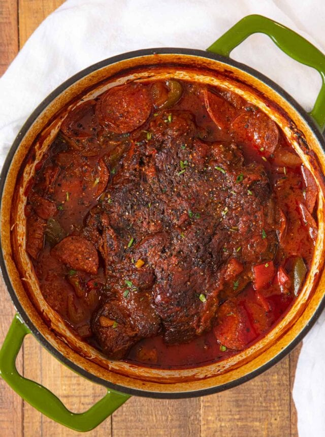 Pepperoni Pizza Pot Roast in pot