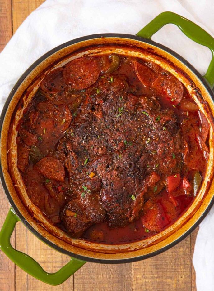 Pepperoni Pizza Pot Roast in pot