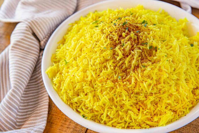 Persian Rice with Saffron in bowl