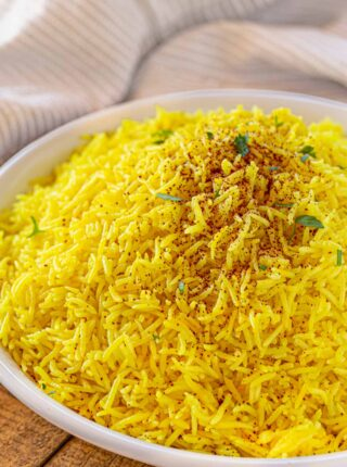 Persian Rice up close in large white bowl