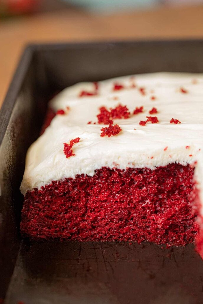 Red Velvet Sheet Cake in baking pan, cross-section