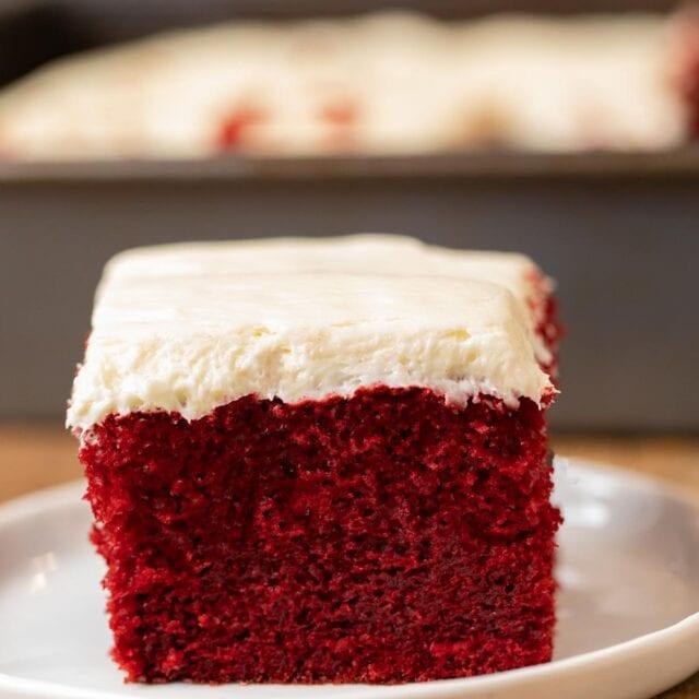 Red Velvet Sheet Cake slice on plate