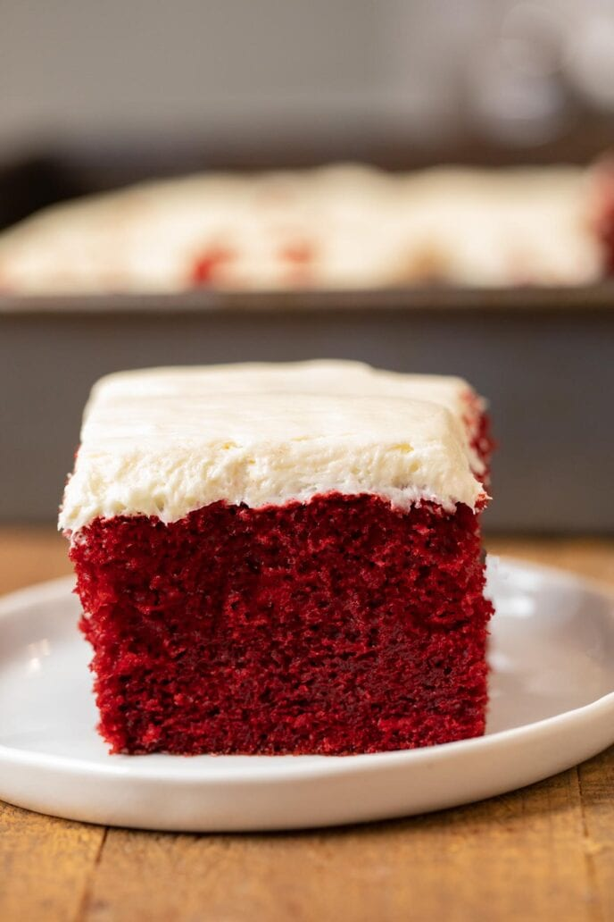 Red Velvet Sheet Cake slice on plate